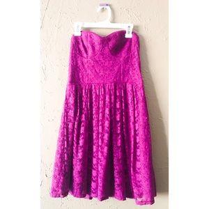 Purple Lace Short Strapless Sweetheart Dress
